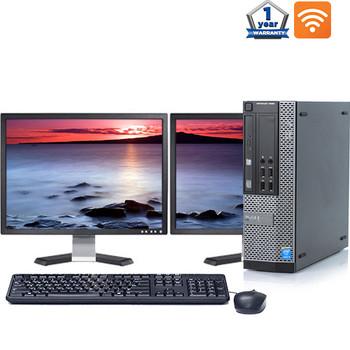 """Dell 790 Desktop Computer Quad i5 3.1GHz 8GB 128GB SSD Win10 Pro w/ Dual 2x19"""" Dell Monitors and WIFI"""
