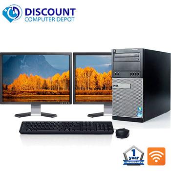"Dell Optiplex Windows 10 PC Tower Quad i5 3.1GHz 8GB 1TB w/Dual 22"" LCD and WIFI"