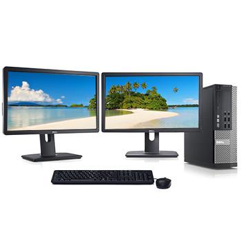"""Dell 3020 Desktop Computer Quad i5 3.2GHz Win10 Pro w/ Dual 2x22"""" Monitors"""