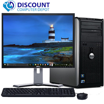 "FAST Dell Optiplex 755 Windows 10 Desktop Computer Tower Core 2 Duo 4GB 160GB DVD WiFi 17"" LCD"