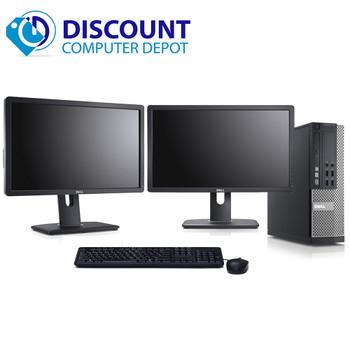 """Dell 3020 Desktop Computer Intel i5 3.2GHz Win10 Pro w/ Dual 2x19"""" Dell Monitors"""