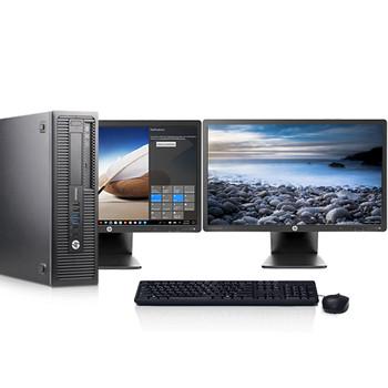 "HP EliteDesk G1 Desktop Computer Intel Core i5 3.2GHz 8GB 256GB SSD Windows 10 Pro Dual 22"" LCDs and WIFI"