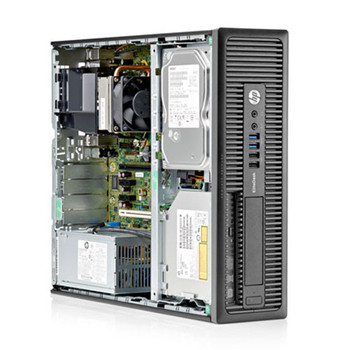 "HP Elite G1 Series SFF Desktop Computer with Intel i5 (4th Gen) Processor 8GB 128GB SSD Windows 10 Professional and Dual 20"" HP e201 LCD Monitors"