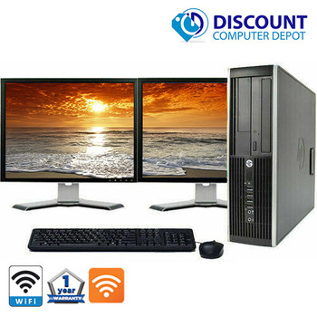 """HP Elite 8200 Desktop Computer PC i5 3.1GHz 8GB 500GB Dual 22"""" LCDs Windows 10 and WIFI with Webcam"""