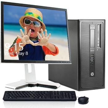 "HP EliteDesk 800 G1 8GB 512GB SSD Windows 10 22"" LCD DVD"