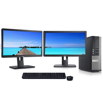 """Dell 3020 Desktop Computer Quad i5 3.2GHz 16GB 1TB SSD Win10 Pro w/ Dual 2x22"""" Dell Monitors and WIFI"""