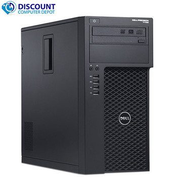 """Dell T1700 Xeon Workstation Windows 10 Pro 16GB RAM New 1TB SSD New GT 1030 Video Card with Dual 24"""" LCD Monitors"""