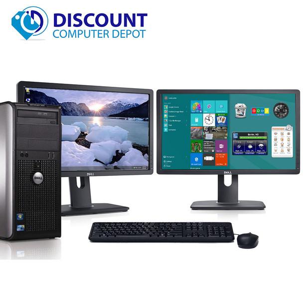 "Dell Optiplex 780 Windows 10 Desktop PC Tower 2.93GHz 4GB 250GB Dual 22"" LCDs"