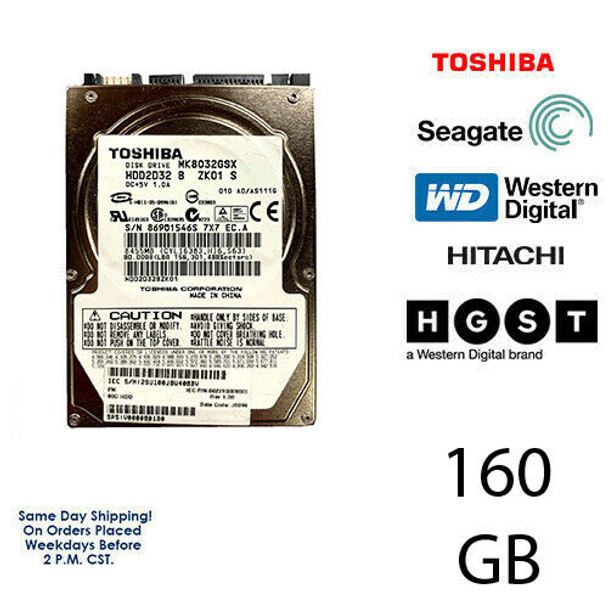 "160GB 2.5"" HDD Laptop Hard Drive MAJOR BRAND WD Seagate Hitachi Internal SATA"
