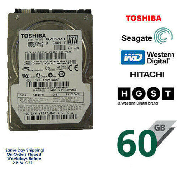 "60GB 2.5"" HDD Laptop Hard Drive MAJOR BRAND WD Seagate Hitachi Internal SATA"