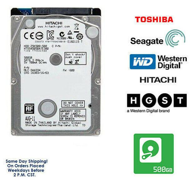 "500GB 2.5"" HDD Laptop Hard Drive MAJOR BRAND WD Seagate Hitachi Internal SATA"