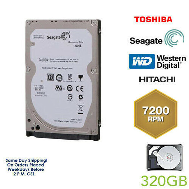 "320GB 7200RPM 2.5"" HDD Laptop Hard Drive MAJOR BRAND Internal SATA WD Seagate"