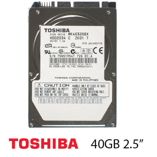 "40GB Toshiba 2.5"" 5400RPM  SATA Laptop Hard Drive MK4032GSX"