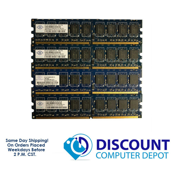 Nanya 4GB 1GBx4 2Rx8 PC2-5300E NT1GT72U8PA1BY-3C NON-REG ECC Memory RAM