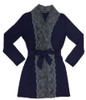 HOME APPAREL LACE FRONT ROBE DEEP BLUE W/ STEEL LACE