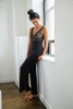 HOME APPAREL BUILT UP CAMI DEEP BLUE W/ STEEL LACE