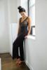 HOME APPAREL LACE WAIST PANT SLATE W/ ARCTIC BLUE LACE