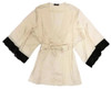 SILK WITH LEAVERS LACE PRINTED YUKATA ROBE WITH LACE TRIM VANILLA