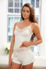HOME APPAREL LACE WAIST SHORTIE IVORY W/ IVORY LACE