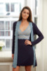 HOME APPAREL BUILT-UP CHEMISE DEEP BLUE W/ BLUE SMOKE LACE