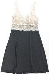 HOME APPAREL BUILT UP CHEMISE SLATE W/ IVORY LACE
