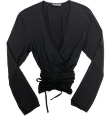 HOME APPAREL L/S BALLET WRAP BLACK
