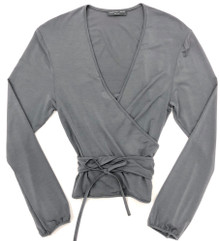 HOME APPAREL L/S BALLET WRAP SLATE