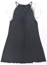 HOME APPAREL CAP SLEEVE NIGHT DRESS SLATE W/ IVORY LACE