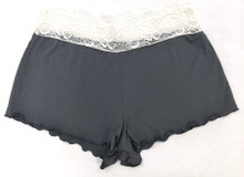 HOME APPAREL LACE WAIST SHORTIE SLATE W/ IVORY LACE
