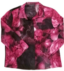 CLASSIC SILK PRINTED CROPPED PJ SHIRT PASSION ROSE