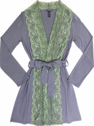 HOME APPAREL LACE FRONT ROBE SLATE W/ JASMINE GREEN LACE