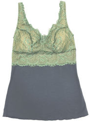 HOME APPAREL BUILT UP CAMI SLATE W/ JASMINE GREEN LACE