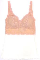 HOME APPAREL BUILT UP CAMI IVORY W/ CHERRY BLOSSOM LACE