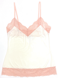 HOME APPAREL CAMISOLE IVORY W/ CHERRY BLOSSOM LACE