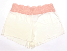 HOME APPAREL LACE WAIST SHORTIE IVORY W/ CHERRY BLOSSOM LACE