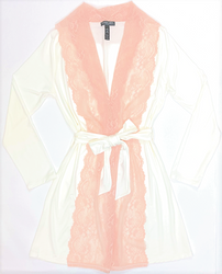 HOME APPAREL LACE FRONT ROBE IVORY W/ CHERRY BLOSSOM LACE