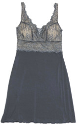 HOME APPAREL BUILT UP CHEMISE SLATE W/ STEEL LACE