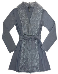 HOME APPAREL LACE FRONT ROBE SLATE W/ STEEL LACE