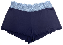 HOME APPAREL LACE WAIST SHORTIE DEEP BLUE W/MINERAL BLUE LACE