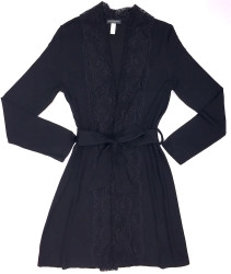 HOME APPAREL LACE FRONT ROBE BLACK W/ BLACK LACE