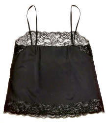 SILK WITH LEAVERS LACE PIA UNDERPINNING BLACK