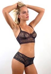 JET SET OUR FAVORITE LONGLINE BRA BLACK TATTOO LACE