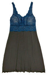 HOME APPAREL BUILT UP CHEMISE SLATE W/ ARCTIC BLUE LACE