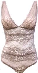 ALL LACE BOUDOIR BODYSUIT MISTY TAUPE