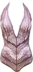 ALL LACE BOUDOIR DEEP PLUNGE HALTER BODYSUIT PURPLE ASH