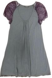 HOME APPAREL CAP SLEEVE NIGHT DRESS SLATE W/ SIBERIAN LILAC LACE