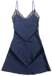 SILK WITH LEAVERS LACE KATIE CHEMISE MIDNIGHT BLUE