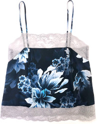 SILK WITH LEAVERS LACE PRINTED PIA UNDERPINNING HEAVENLY BLUE FLORAL