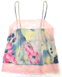 SILK WITH LEAVERS LACE PRINTED PIA UNDERPINNING KOI GARDEN