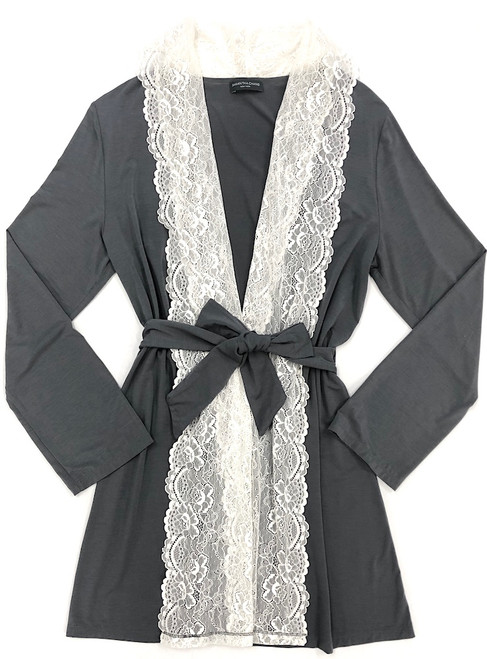 HOME APPAREL LACE FRONT ROBE SLATE W/ IVORY LACE